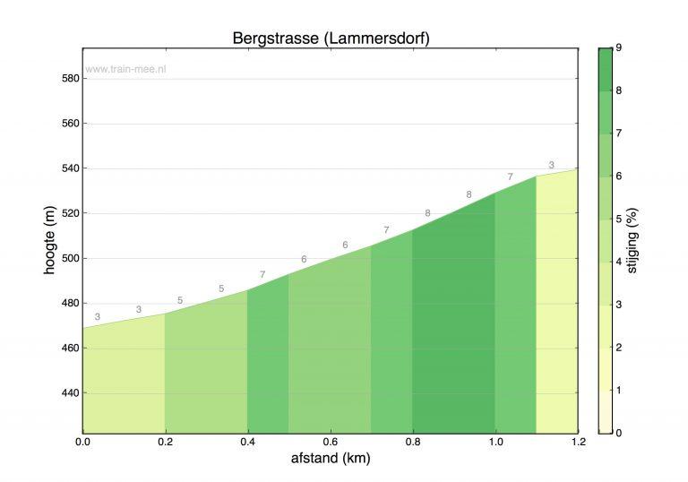 Hoogteprofiel beklimming Bergstrasse (Lammersdorf)