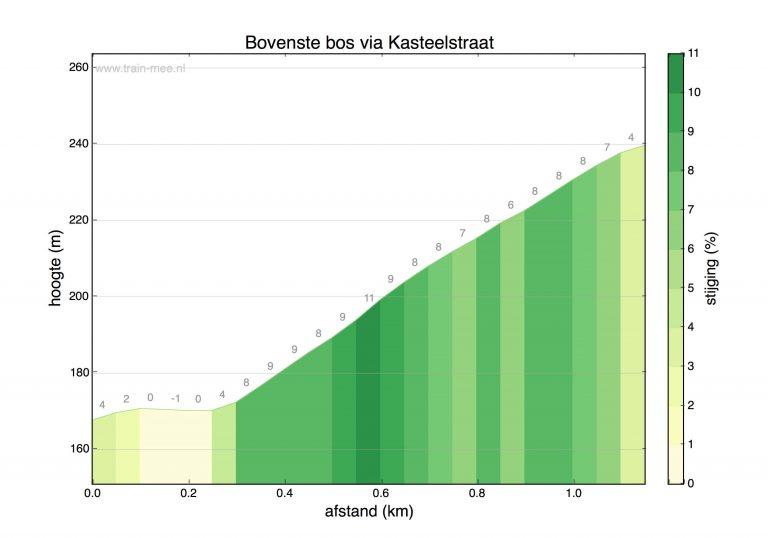 Hoogteprofiel beklimming Bovenste Bosch via Kasteelstraat